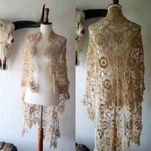Vintage cotton crochet shawl altar stevie nicks
